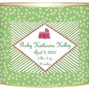Birth Announcement Personalized Baby Bin | Green