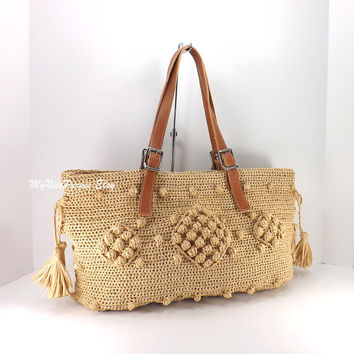 SALE Gerard Darel Woodstock Raffia Style Tote Bag with Genuine Italian Leather Strap Handles /OATMEAL/, Straw Tote Bag, Beach Bag, Gift Idea