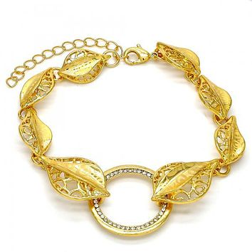 Gold Layered 03.241.0001.08 Fancy Bracelet, Leaf Design, with White Crystal, Polished Finish, Gold Tone