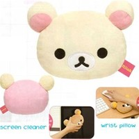 San-X Rilakkuma 6.5'' Wrist Rest Screen Cleaner Face Pillow: Little Bear