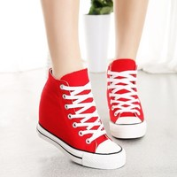Red Superstar Wedges Sneaker