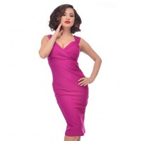 Steady Clothing Magenta Diva Wiggle Dress | Pin Up Rockabilly
