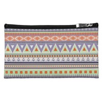 Colorful Tribal Pattern Sueded Medium Cosmetic Bag