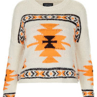 Knitted Hairy Aztec Jumper
