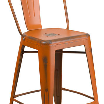 24'' High Distressed Orange Metal Indoor Counter Height Stool with Back