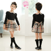Girls Casual Black Plaid Dress