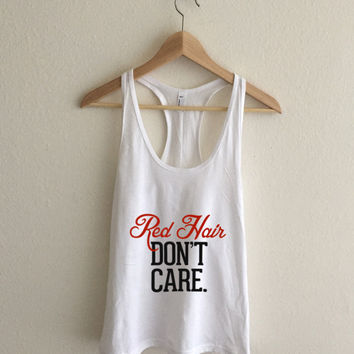 Red Hair Don't Care Sheer Jersey Athletic Racerback Tank Top