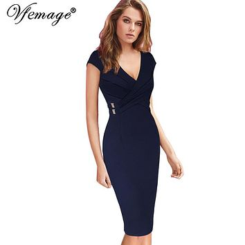 Vfemage Women Elegant Ruched Cross Draped Vintage Pinup Slim Wear To Work Office Business Casual Party Bodycon Pencil Dress 6610