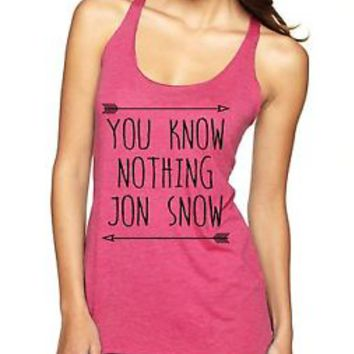 Women's Triblend Racerback Tank Top You Know Nothing Jon Snow Game Of Thrones