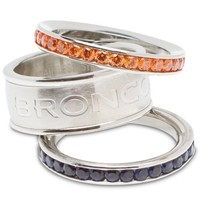 Denver Broncos Logo Crystal Stacked Ring Set (Size 6)
