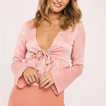 NADIA PINK SATIN TIE FRONT CROP TOP