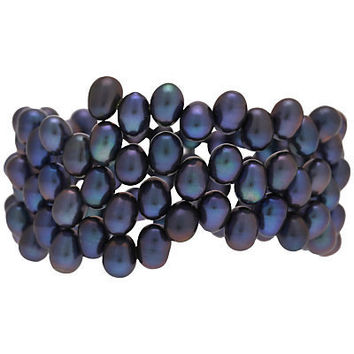 Buy Lido Coil Freshwater Pearl Bracelet, Peacock online at JohnLewis.com