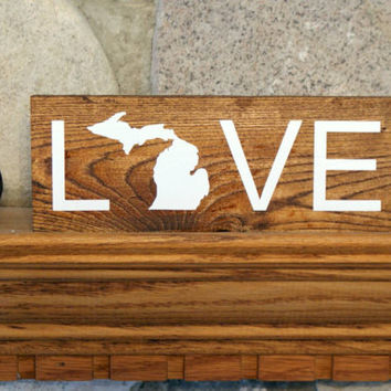 Michigan love wood sign | michigan art | home decor