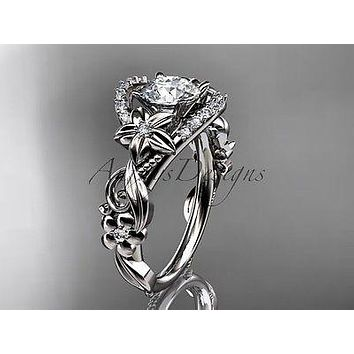 Platinum flower diamond unique engagement ring  ADLR211