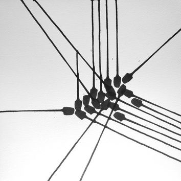 "14 x 14 Modern Fine Art Abstract OOAK Black and White Hand Painted Ink Painting ""  Wire 1090"""