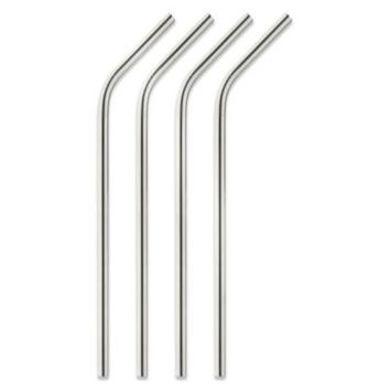 Stainless Steel Drinking Straws with Cleaning Brush (Set of 4)