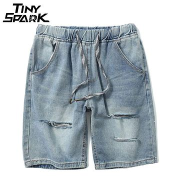 Washed Jeans Short Ripped Hole Destroyed Distressed Denim Short Hip Hop Men Casual Elastic Waist Shorts Embroidery Vintage