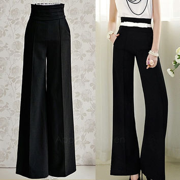 Women Sexy Fashion Casual High Waist Flare Wide Leg Long Pants Palazzo Trousers   AP = 1652344900