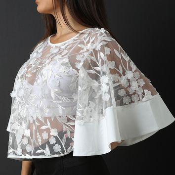 Embroidered Floral Mesh Bell Sleeves Crop Top