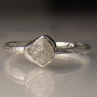 Raw Diamond Twig Ring in Recycled Sterling Silver
