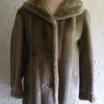 Vintage Tan Hip Length Faux Fur Jacket Or Coat By Dubrowsky & Joseph Size Small To Medium
