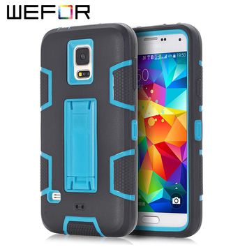 Case Cover For Samsung Galaxy S5 i9600 Shockproof Hybrid Armor Rubber Heavy Duty Stand Phone Cases w/Screen Protector+Stylus Pen