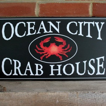 Ocean City Crab House Wood  Sign Wall Decor Maryland Summer Tradtions