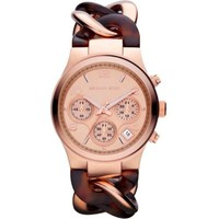 Michael Kors MK4269 Womens Chronograph Rose Gold Tone Stainless Steel Case Twisted Link Bracelet Quartz
