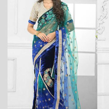 Shop Online For Blue and Sky Blue Velvet Net Lehenga Saree