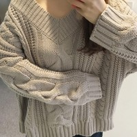 Gray V-neck Cable Knit Sweater