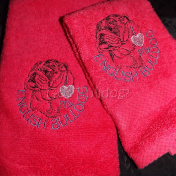 Pink I Love My English Bulldog Embroidered Hand and Wash Towel