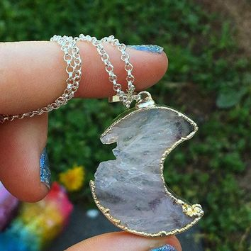 Agate Amethyst Moon Necklace