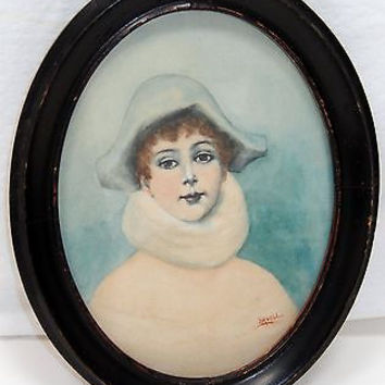 Antique Watercolor Portrait Painting Oval Picture Frame Blue Lady Signed Huell