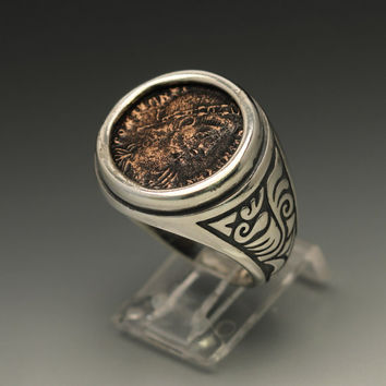 ancient coin ring, sterling silver men's ring size 11 with authentic ancient roman coin, silver ring with a coin of constantine the great