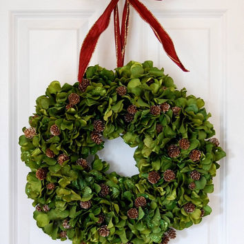 Green Hydrangea Wreath, Front Door Wreath, Holiday Wreath, Christmas, Thanksgiving, Winter, Pine Cone Wreath