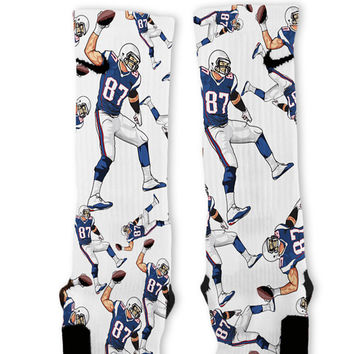 Gronk Spike Patriots Custom Nike Elite Socks