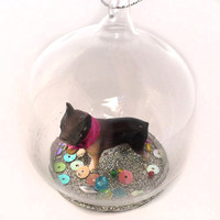 Dog with Pink Bell Globe Ornament
