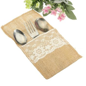 Table Decoration Accessories Burlap Silverware Holders/Country Wedding Jute Lace Pouch Cover