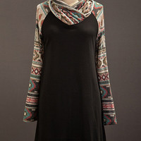 Tan & Black Aztec Cowl Neck Knit Dress