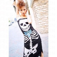 Black Skull Fancy Color Diamonds Strapless Dress - Women's Dresses - Apparel