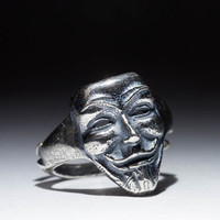 Anonymous Ring, Guy Fox, V for Vendetta, silver-plated brass, adjustable size, handmade