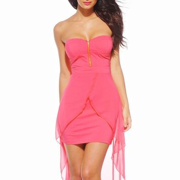 Pink Strapless High-Low Bodycon Dress with Front Zipper