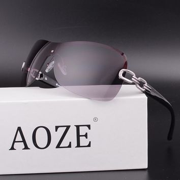 2017 NEW AOZE Conjoined Metal chain goggles large frame female glasses brown leopard tattoo oculos Gafas Accessories UV400