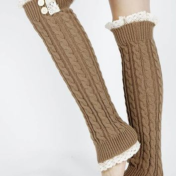 LEG WARMER LACE TOP AND BOTTOM OVER THE KNEE BUTTON ACCENTED