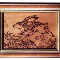 Pyrography Art, Framed - wood Burning, Hare art, original hare art, Hare Painting, hare drawing, bunny, woodburning, rabbit art, Moon Gazing