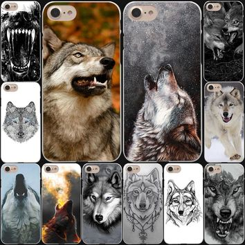 Fierce Snow Wolf Hard White Cover Case for iPhone 8 8 Plus 7 7 Plus 6 6S Plus 5 5S SE 4 4S X/10