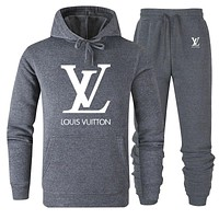 LV Louis Vuitton Autumn And Winter New Fashion Letter Hooded Long Sleeve Sports Leisure Top And Pants Two Piece Suit Gray