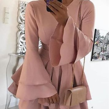 New Pink Cascading Ruffle Pleated Bell Sleeve Elegant Party Mini Dress
