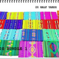 Aztec fabric, Mexican Fabric Bundle, Mexican fabric by the half yard,colorful tribal fabric half yards