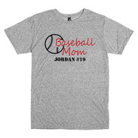 Personalized baseball mom t shirt.  Player's name and number.  Baseball.